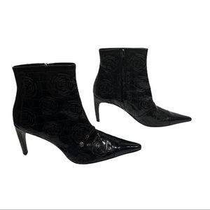 Authentic Never Worn Chanel Black Patent Camellia Boots 38